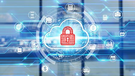 Photo pour Businessman touch network using padlock icon technology with virtual screen icons, Business Technology Privacy concept, Internet Concept of global business. - image libre de droit