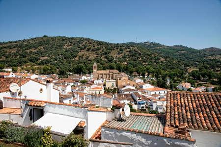 Almonaster view the Real in the Serrania de Huelva, Andalusia