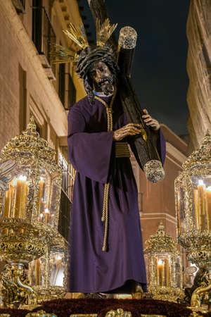 Jesus with the cross on his shoulder, brotherhood del Gran Poder de Sevilla, Easter