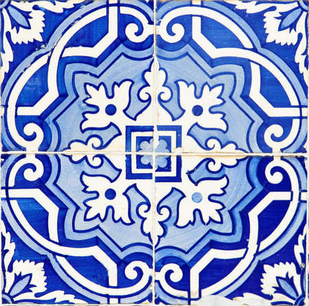 Old Traditional Portuguese azulejos, painted ceramic tilework