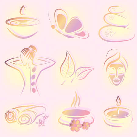 Illustration for set of spa items  - Royalty Free Image