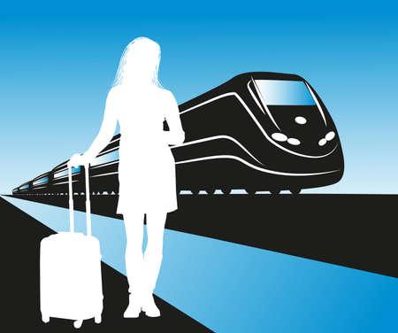 illustration of passenger waiting at the train station