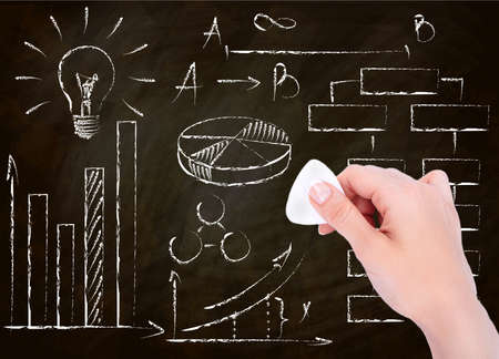 hand drawing success and business symbol on blackboard
