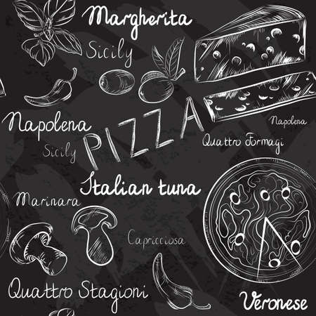 Vector seamless pattern with Pizza menu