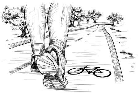 Illustration for Vector sketch of feet of a runner running Walking in marathon - Royalty Free Image