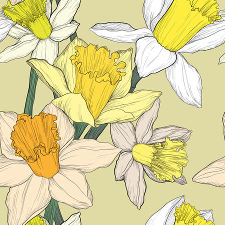 Illustration pour Yellow and white jonquil daffodil narcissus seamless pattern - image libre de droit