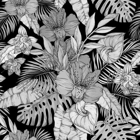 Illustration pour Seamless pattern with monochrome flowers on black background - image libre de droit