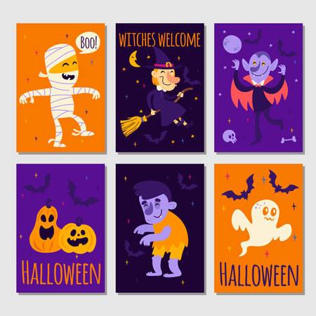 Illustration pour Set of cartoon Halloween posters or cards - image libre de droit