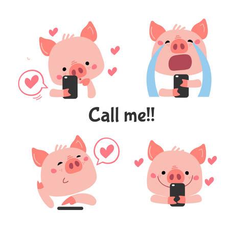 Photo pour Vector Pink Piggy with telephone. Stickers for social network, avatars - image libre de droit