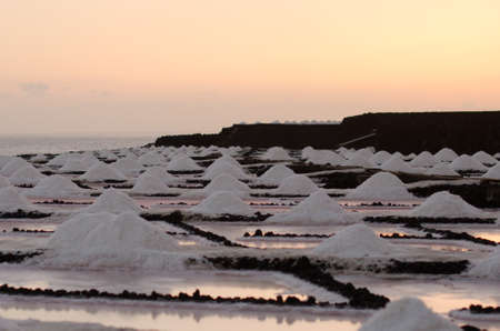 Sunset in the salt flats of Fuencaliente, La Palma, Canary island