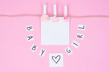 Photo pour It's a girl! Photo of thematic background with girlish gentle accessories isolated on white background - image libre de droit