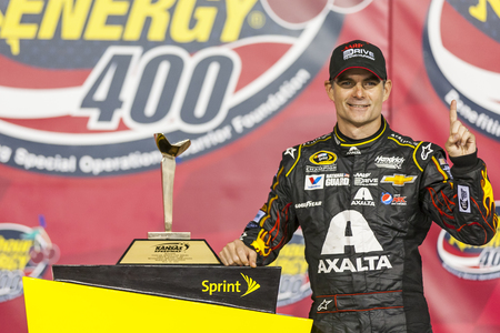 Kansas City, KS - May 10, 2014:  Jeff Gordon (24) wins the 5-hour Energy 400 Benefiting Special Operations Warrior Foundation at Kansas Speedway in Kansas City, KS.