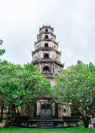 Thien Mu pagoda with Perfume River (Song Huong) in Hue, Vietnam