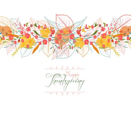 Ilustración de Happy Thanksgiving. Background of stylized autumn leaves for greeting cards - Imagen libre de derechos