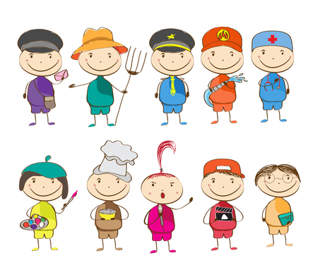 set of ten children with different professions. postman, farmer, police, fireman, doctor, artist, chef, singer, director, teacher