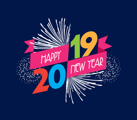 Illustration pour Vector illustration of fireworks. Happy new year 2019 background - image libre de droit