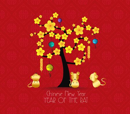 Illustration pour Tree design for Chinese New Year celebration. Year of the rat - image libre de droit