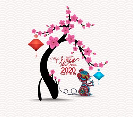 Illustration pour Oriental Happy Chinese New Year 2020. Year of the rat - image libre de droit