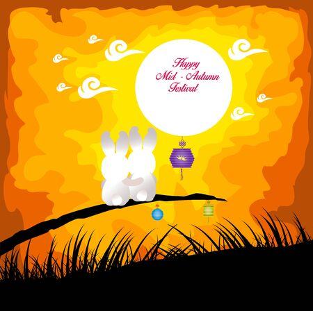 Illustration pour Mid Autumn Festival background with rabbit playing lanterns - image libre de droit