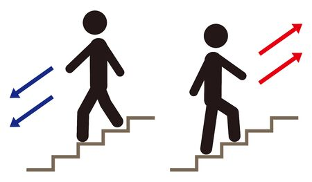 Illustration pour People up and down the stairs. - image libre de droit