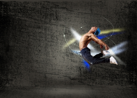 dancer,  on an abstract background  collage
