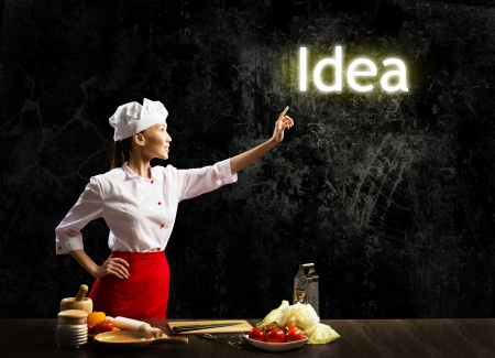 woman cook touch glowing word idea , concept collage