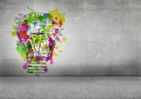 Photo for Sketch of light bulb and business ideas on cement wall - Royalty Free Image
