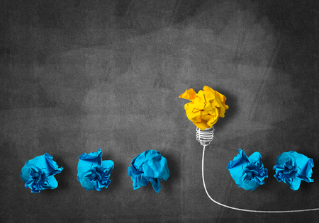 Photo for Inspiration concept with crumpled paper light bulb as good idea - Royalty Free Image