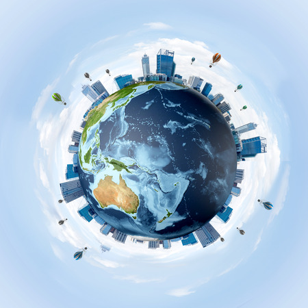 Photo pour Panoramic view of Earth globe with skyscrapers on its surface. Ecology and environmental protection concepts. 3D rendering. Elements of this image are furnished by NASA. - image libre de droit