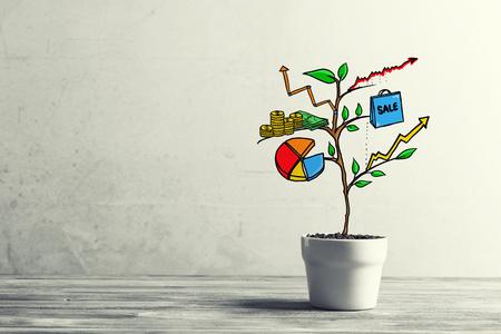 Foto de Concept of successful business plan and strategy presented by growing tree - Imagen libre de derechos