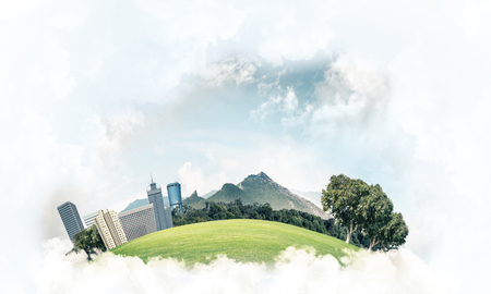 Photo pour Modern cityscape with buildings and skyscrapers floating on clouds in sky - image libre de droit