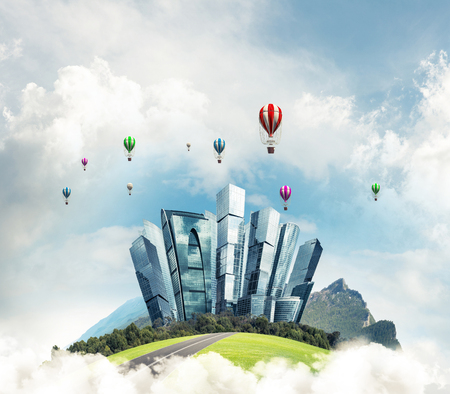 Photo pour Green flying island among clouds with urban view of towers and skyscrapers. Flying aerostates and blue cloudy skyscape on background. 3D rendering. - image libre de droit