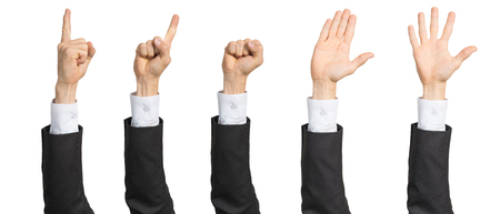 Foto für Businessman hand showing various gestures. Open palm, finger pointing, clenched fist and voting signs. Human hand gesturing isolated on white background. Raised arms presenting popular gestures. - Lizenzfreies Bild