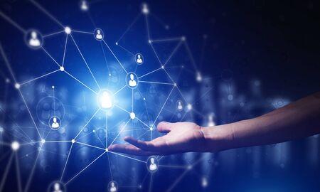 Foto de Background conceptual image with social connection lines on dark backdrop - Imagen libre de derechos
