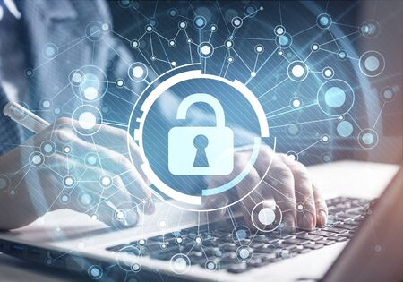 Photo pour Digital cybersecurity and network protection. Virtual locking mechanism to access shared resources. Interactive virtual control screen. Protect personal data and privacy from cyberattack and hacker - image libre de droit