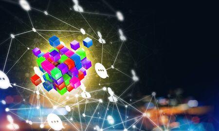 Photo pour Conceptual background image with cube figure and social connection lines. 3d rendering - image libre de droit