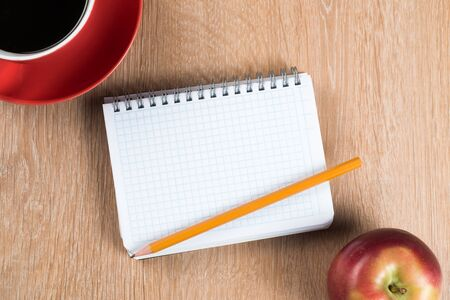Photo pour Back to school concept with apple blank notepad and pencil - image libre de droit