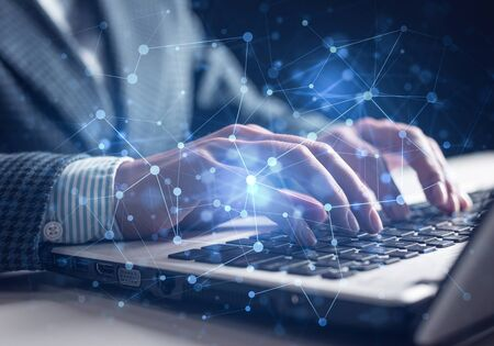 Foto de Project management and internet researching process. Man in business suit typing on laptop keyboard. Virtual geometric graphics with circle elements. Abstract global network connection concept - Imagen libre de derechos