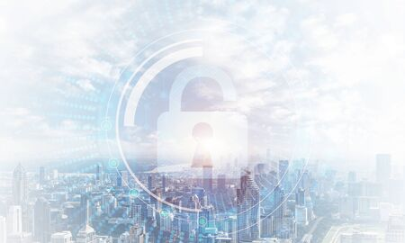 Foto de Global cybersecurity mixed media with virtual locking padlock on cityscape background. Data cryptography and internet surfing protection. Protection personal data and privacy from cyberattack. - Imagen libre de derechos