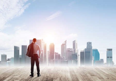 Photo pour Businessman standing with back and looking at business cityscape - image libre de droit