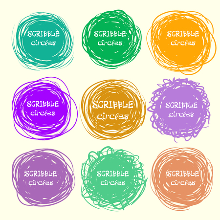 Set of bright hand-drawn scribble circles for your design. Vector illustration