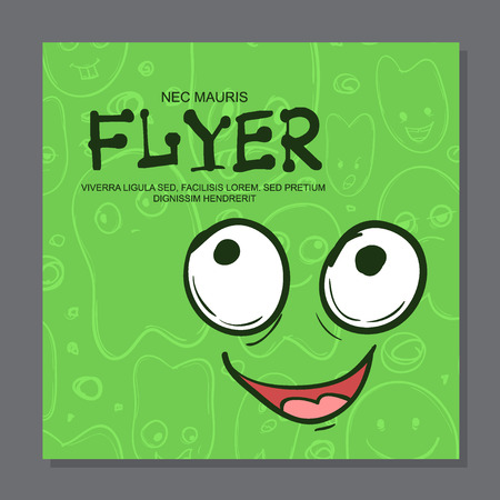Illustration pour Flyers with Funny faces, cartoon-style on background. It can be used as invitation or card. Vector illustration - image libre de droit