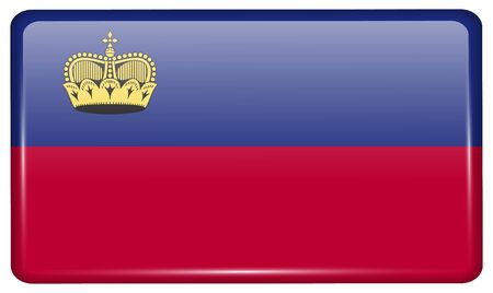 Flags of Liechtenstein in the form of a magnet on refrigerator with reflections light. Vector illustration