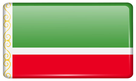 Flags of Chechen Republic in the form of a magnet on refrigerator with reflections light. illustration