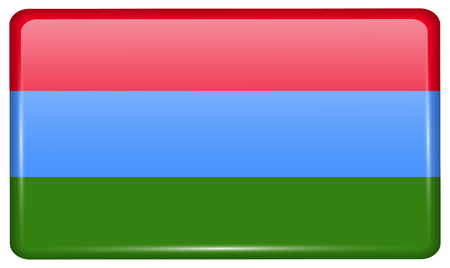 Flags of Karelia in the form of a magnet on refrigerator with reflections light. illustration