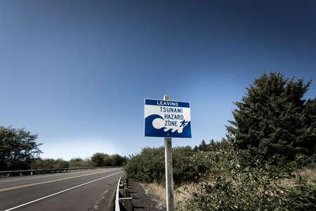 Photo for A tsunami warning sign along a coastal highway near the Oregon coast. - Royalty Free Image