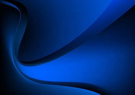 Blue glowing graphic wave on black background.