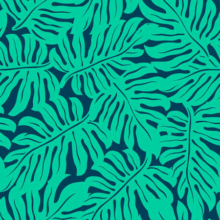 Illustration for Monstera tropical leaf in a seamless pattern . - Royalty Free Image
