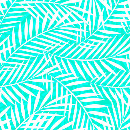Tropical white and green palm tree leaves seamless pattern