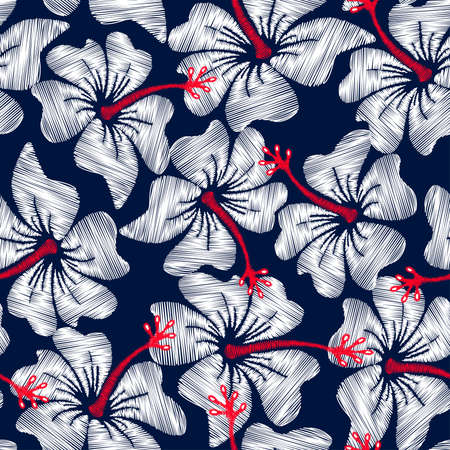 Illustration pour White hibiscus tropical embroidery floral seamless pattern . - image libre de droit